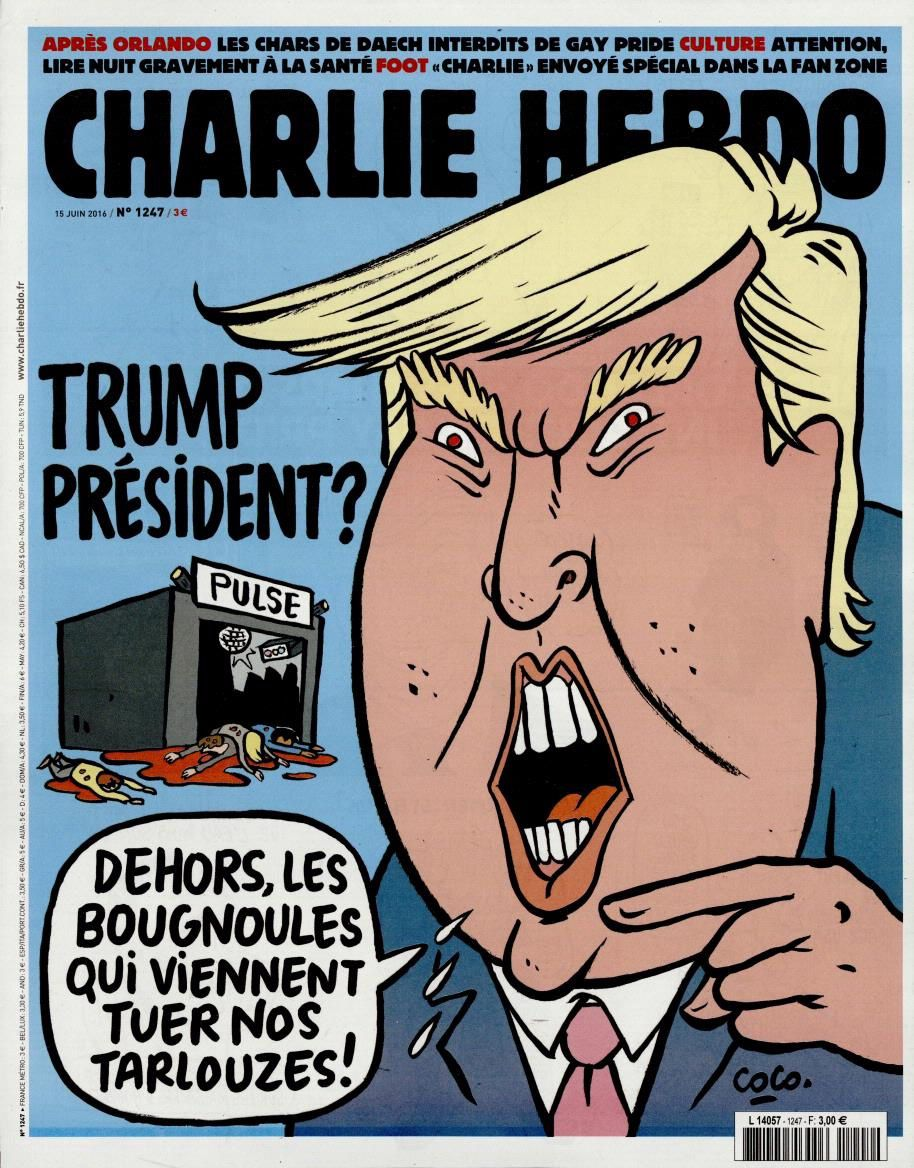 Trump Président vu par Coco en Une de Charlie Hebdo.