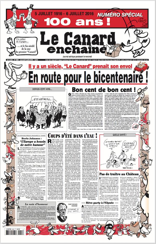 Le Canard Enchaîné fête ses 100 ans dans le numéro de ce mercredi.