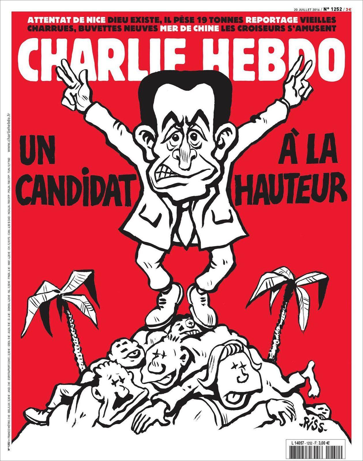 Sarkozy épinglé par Riss en Une de Charlie Hebdo ce mercredi.