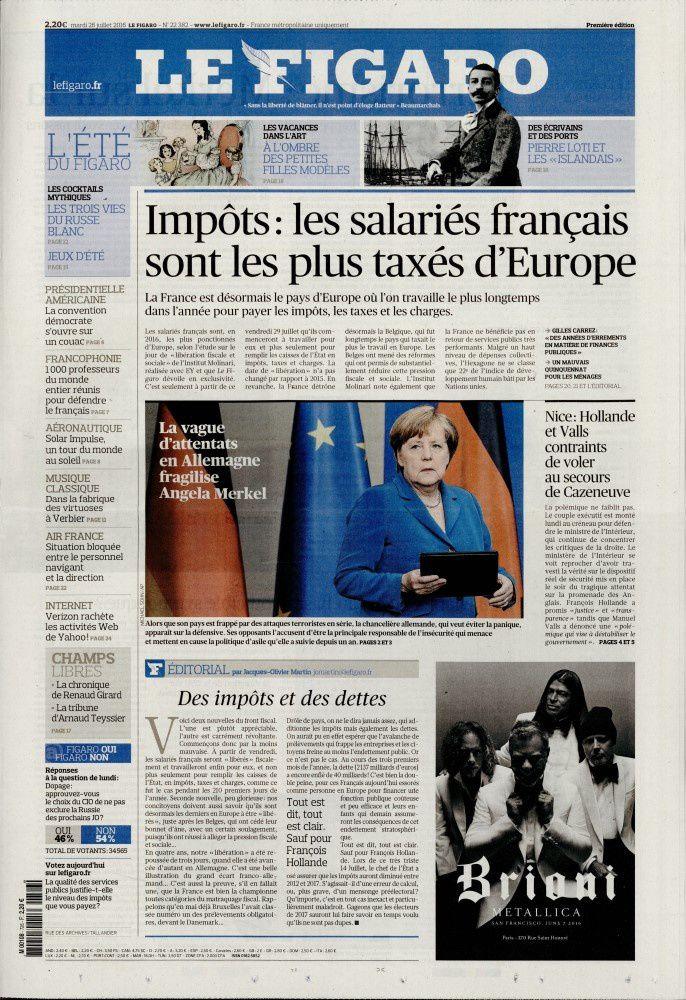 La Une des quotidiens nationaux ce mardi 26 juillet.