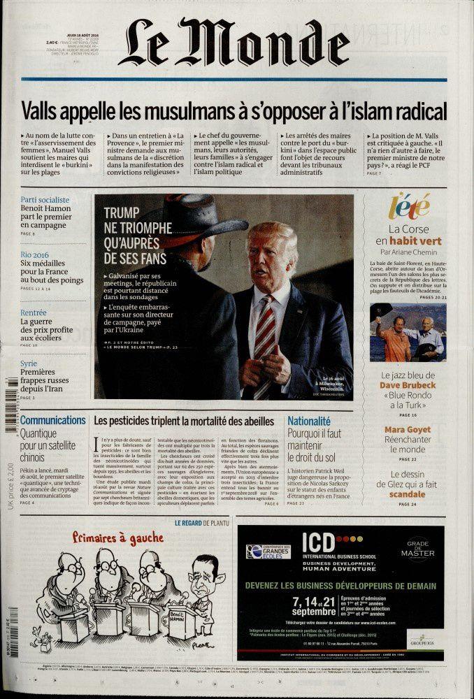 La Une des quotidiens nationaux ce jeudi 18 août.