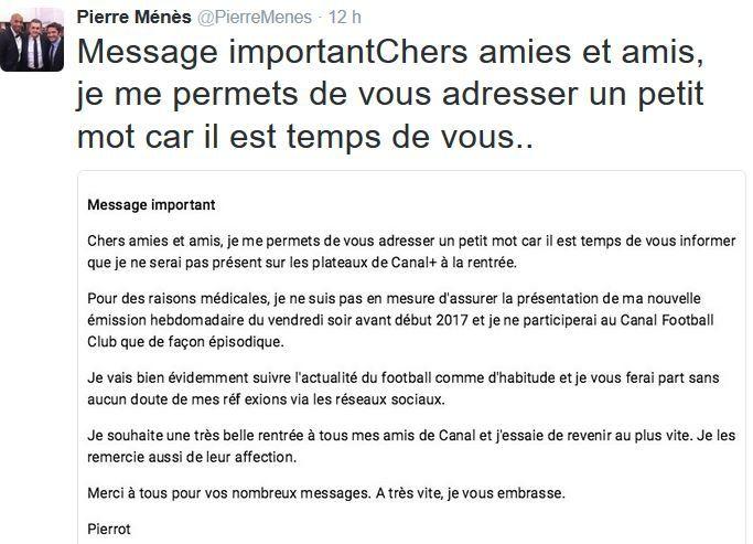Pour des raisons médicales, Pierre Ménès moins présent à l'antenne.