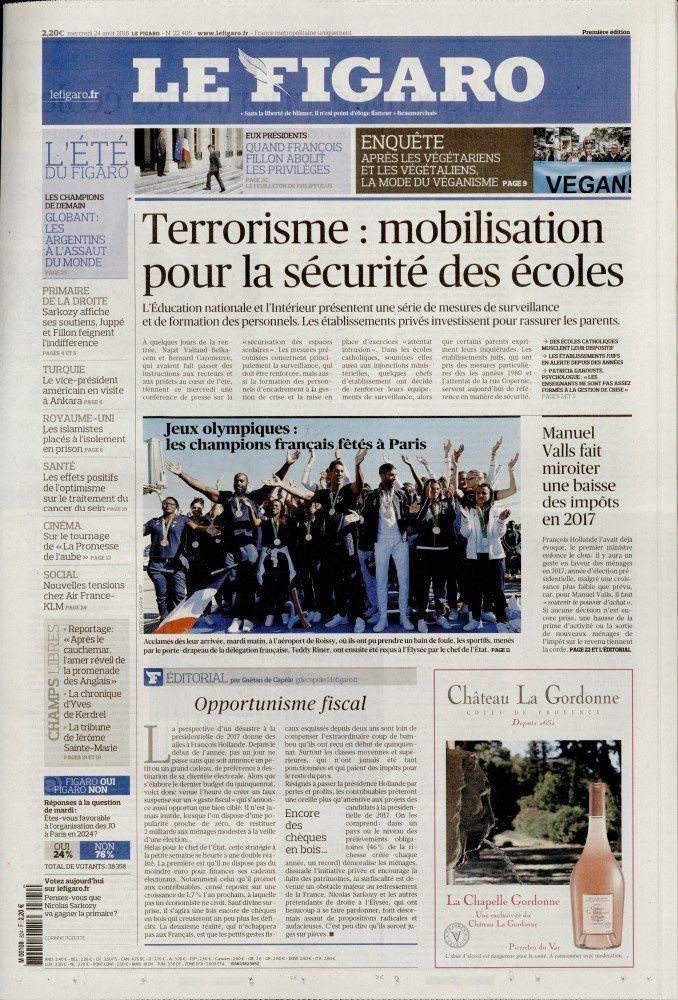 La UNE des quotidiens nationaux ce mercredi 24 août.