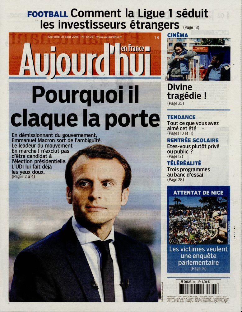 La Une des quotidiens nationaux ce mercredi 31 août.