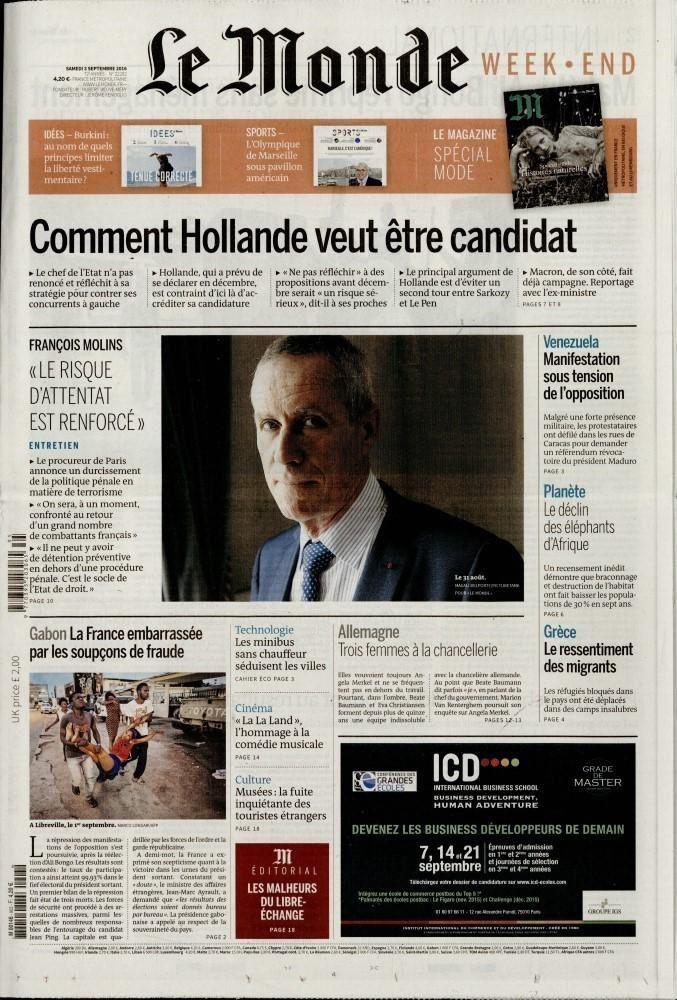 La Une des quotidiens nationaux ce samedi 3 septembre.