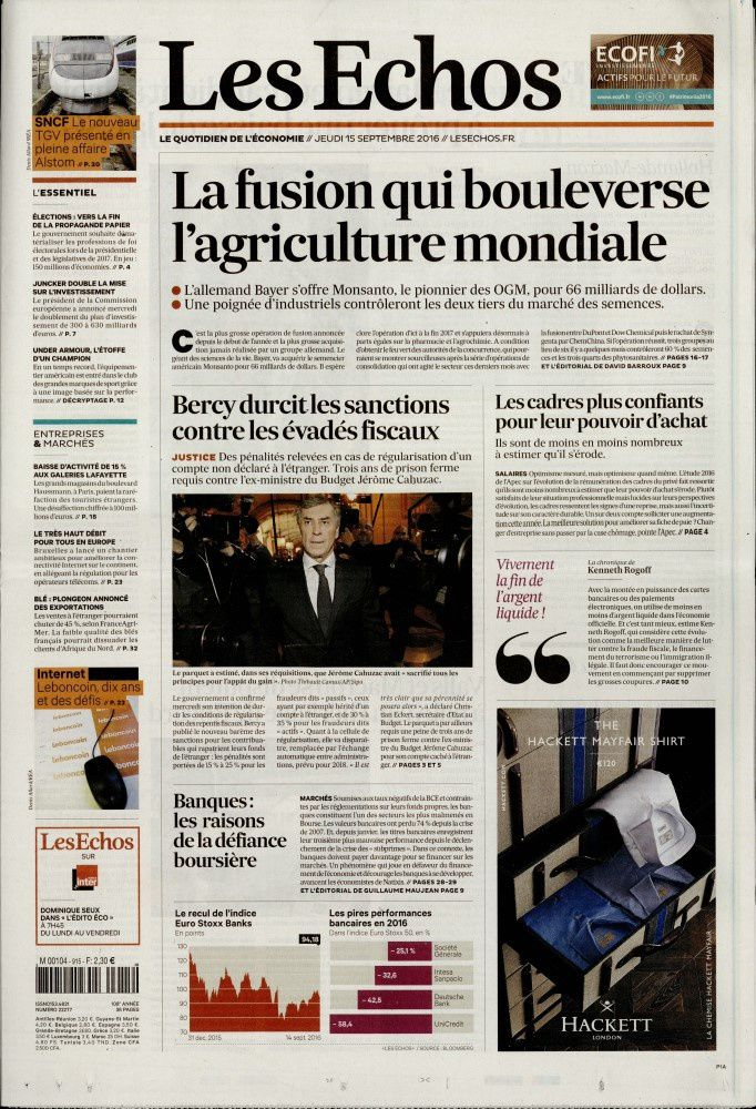 La Une de la presse quotidienne nationale ce 15 septembre.