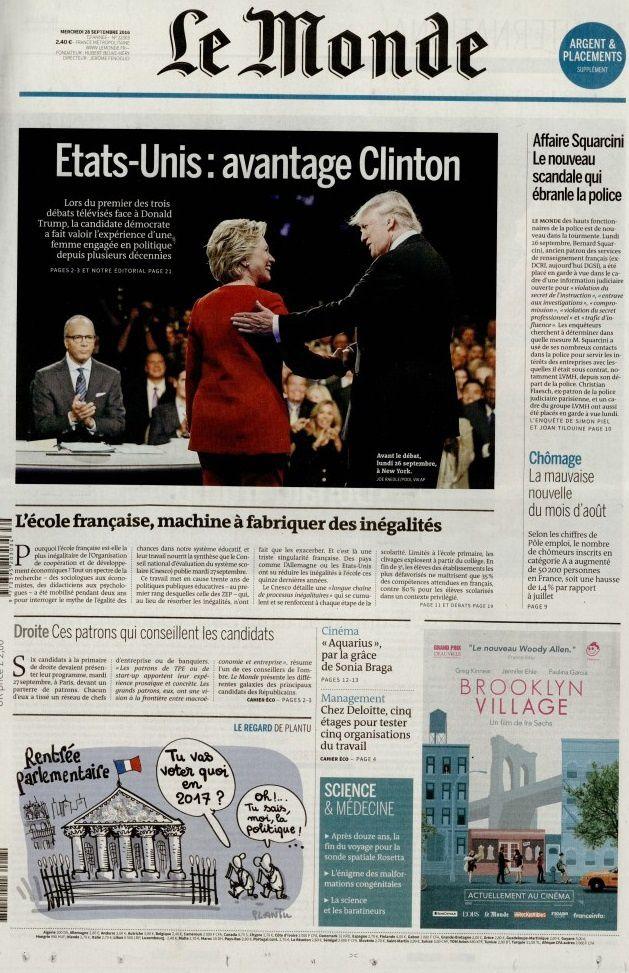 La Une des quotidiens nationaux ce mercredi.
