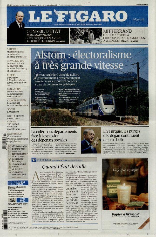 La Une des quotidiens nationaux ce mercredi 5 octobre.