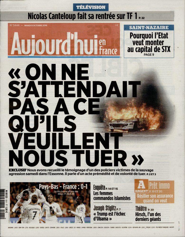 La Une des quotidiens nationaux ce mardi 11 octobre.