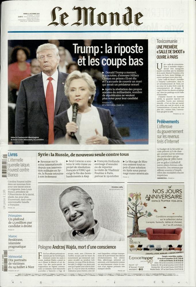 La Une de la presse quotidienne nationale ce 12 octobre.