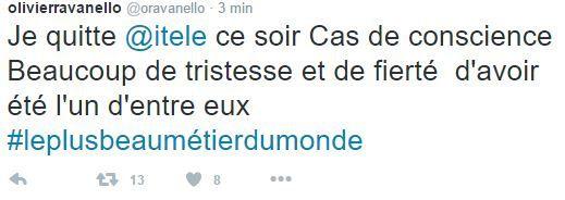 Olivier Ravanello annonce qu'il quitte iTélé ce soir.