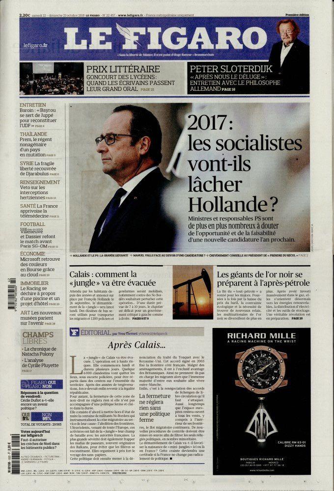 La Une des quotidiens parus ce samedi 22 octobre.