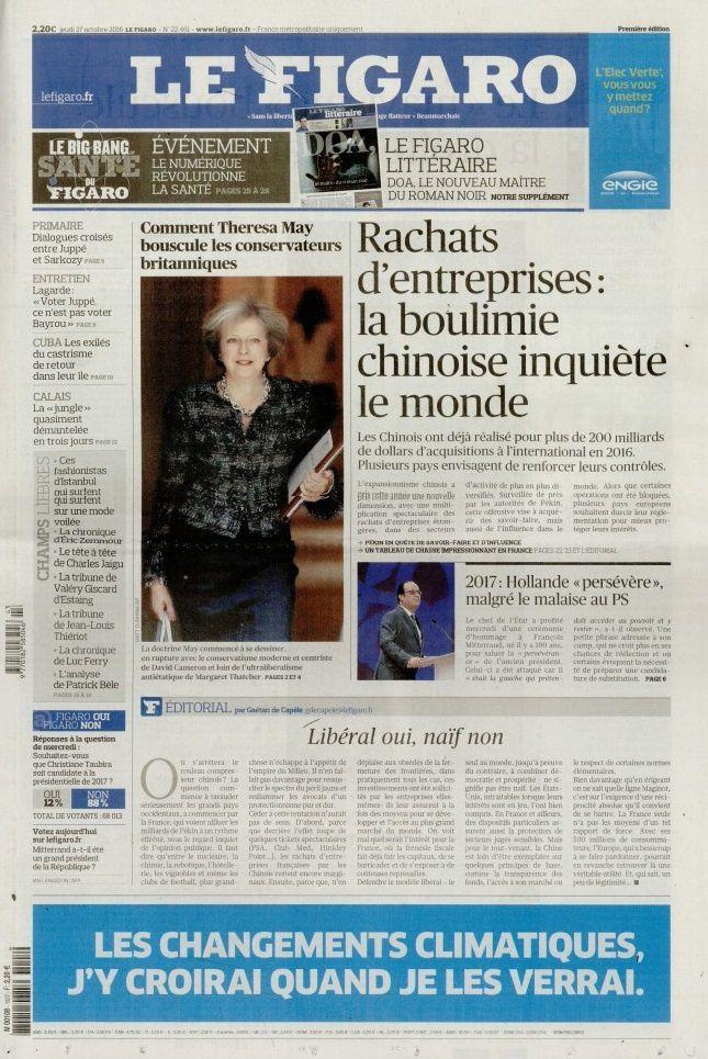 La Une de la presse quotidienne nationale ce 27 octobre.