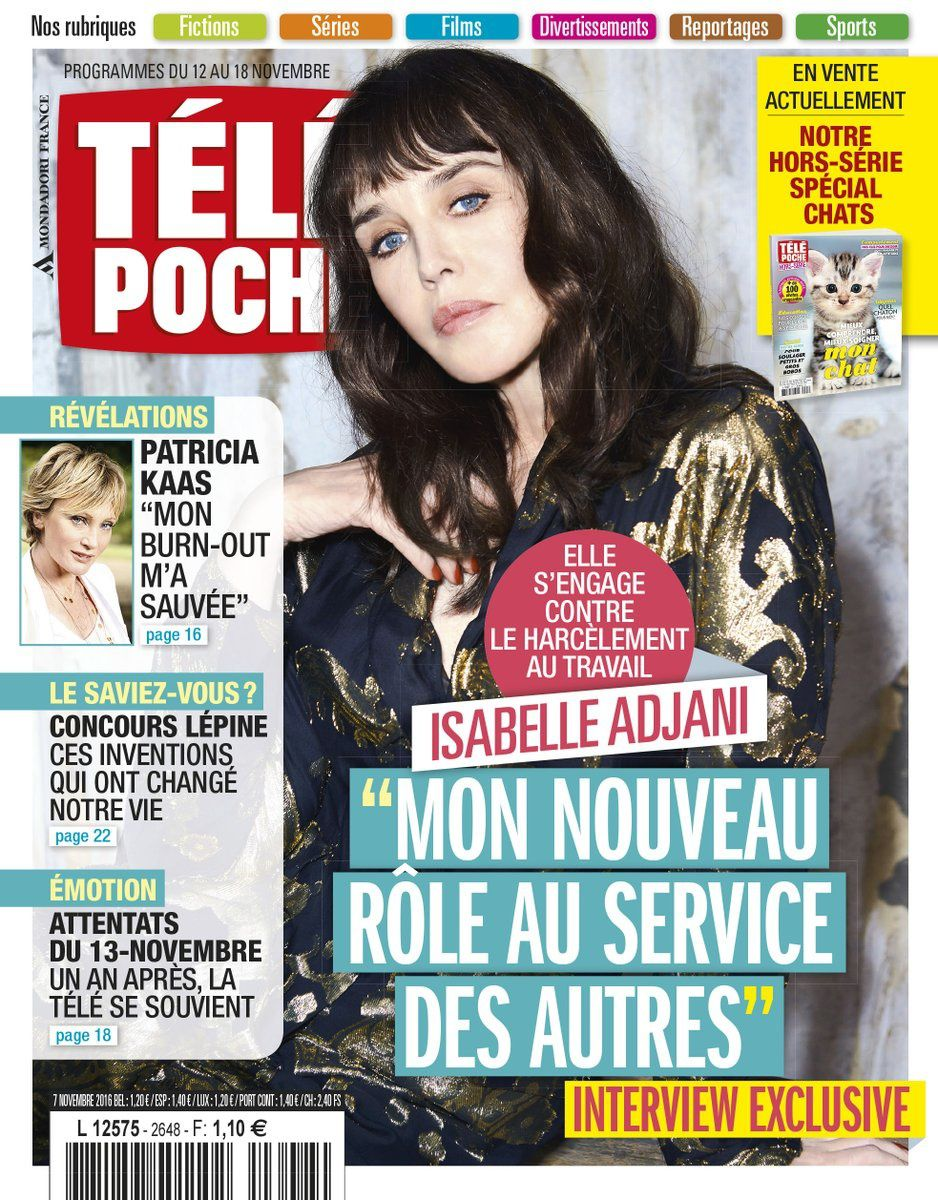 La Une des hebdos TV ce lundi : Fauve Hautot, Isabelle Adjani, Vanessa Paradis.