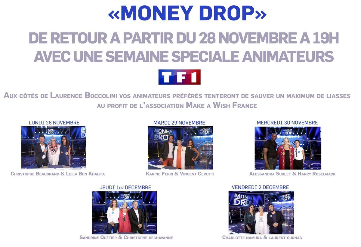 Retour de Money Drop le 28 novembre sur TF1.
