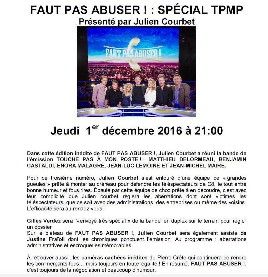 Faut pas abuser spécial TPMP ! le 1er décembre sur C8.
