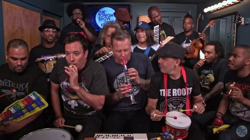 Jimmy Fallon, Metallica &amp&#x3B; The Roots reprennent &quot&#x3B;Enter Sandman&quot&#x3B; (vidéo).