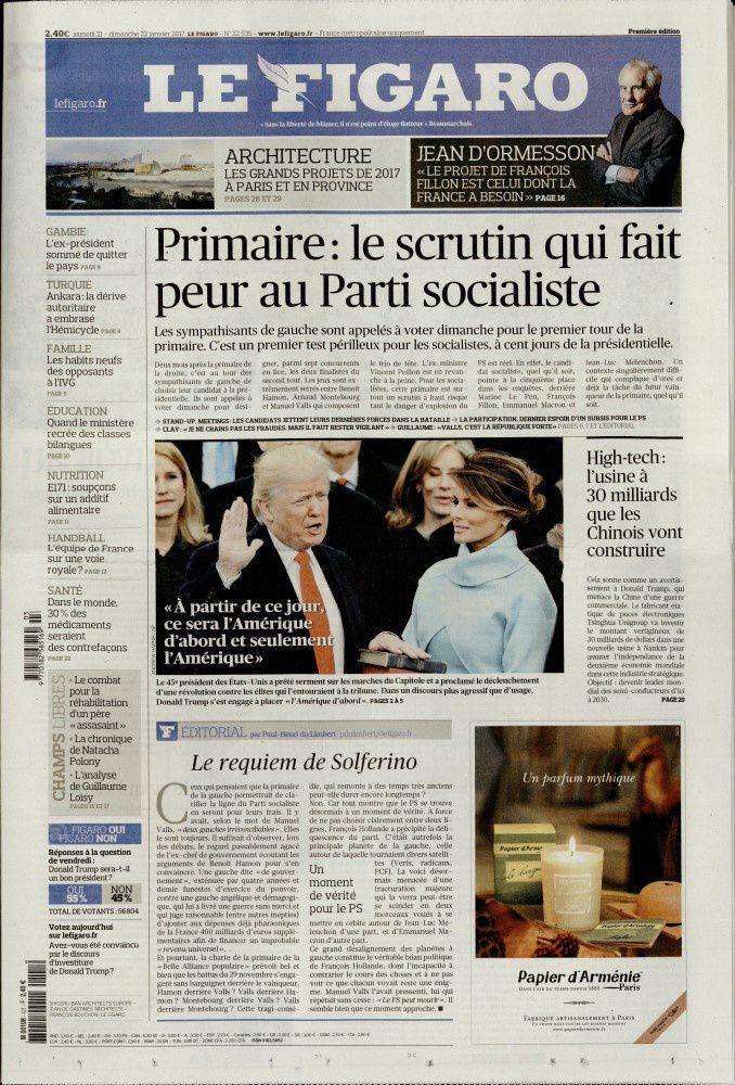 La Une des quotidiens nationaux ce samedi 21 janvier.