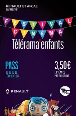 Télérama propose un pass pour le festival Cinéma enfants.