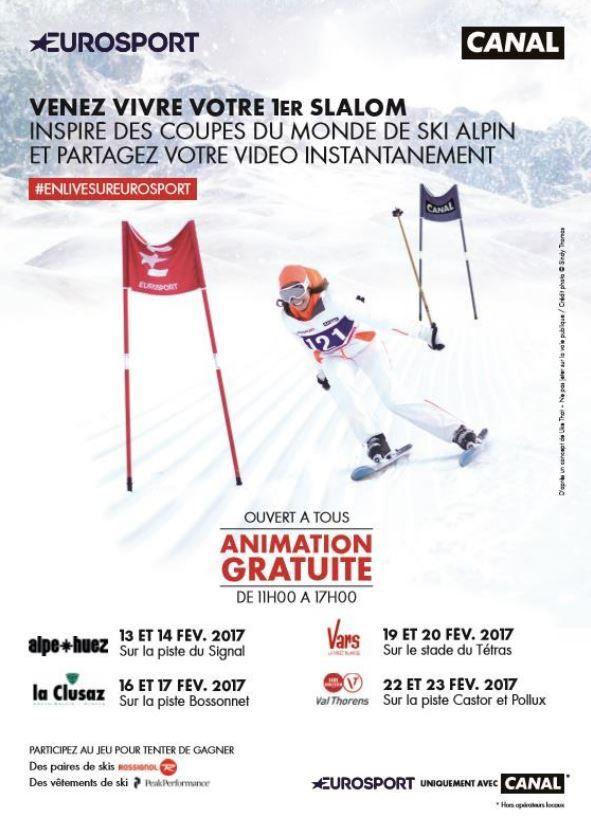 Opération commune Eurosport - Canal+ dans 4 stations de sports d'hiver.