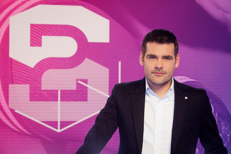 Matthieu Lartot et Clémentine Sarlat à la présentation de STADE 2 à la rentrée.
