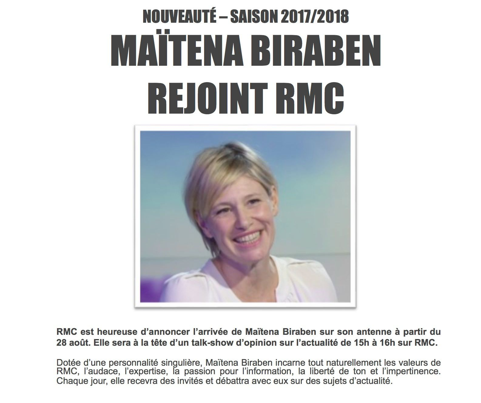 Maïtena Biraben rejoint RMC la saison prochaine.