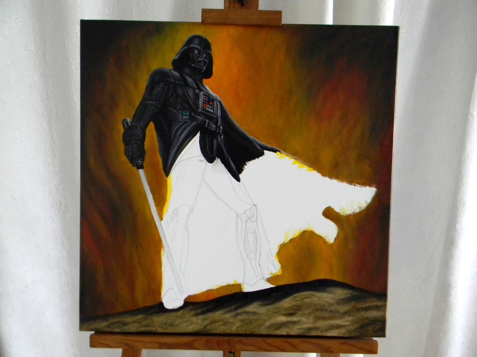 Dark Vador (peinture à l'huile sur toile)   //   Darth Vader (oil painting on canvas)   //   60 x 60 cm