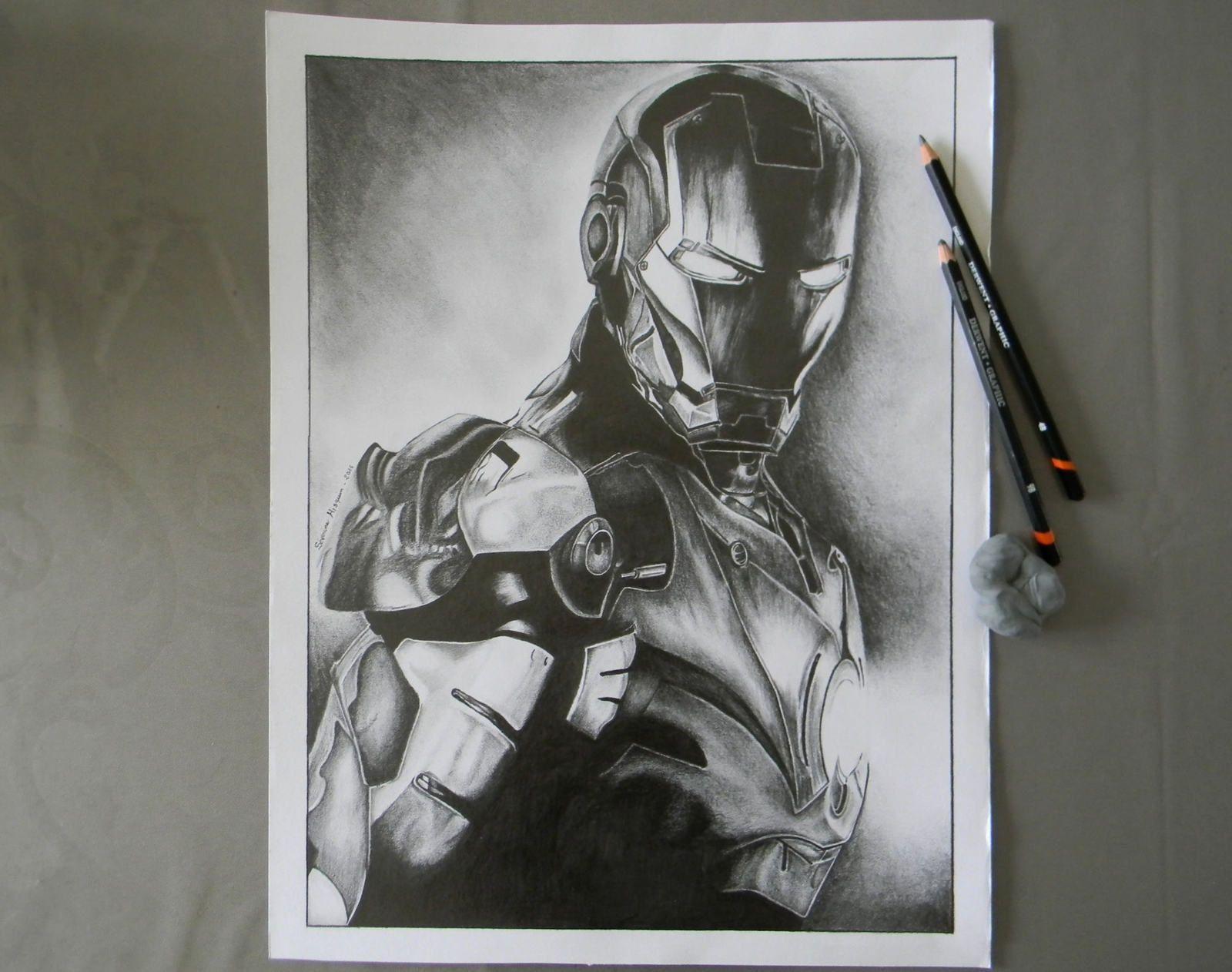 Portrait d'Iron Man au crayon