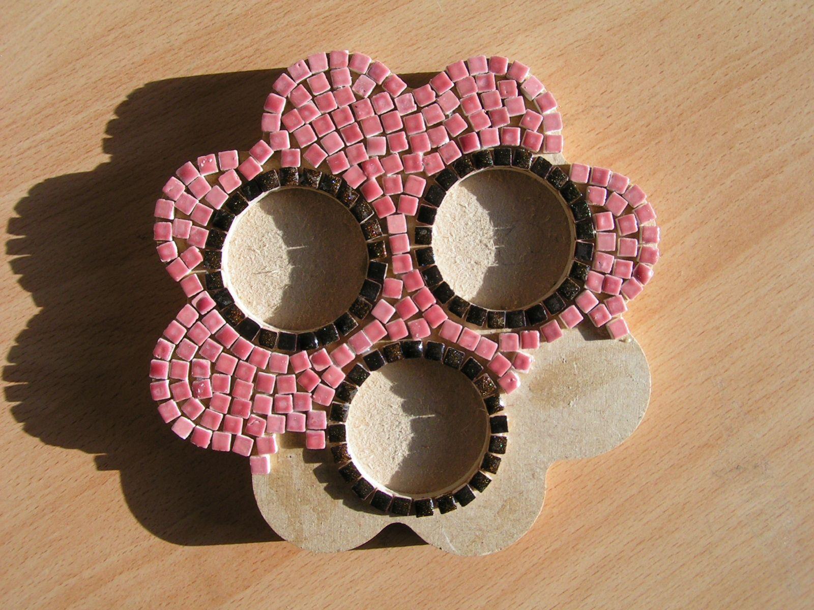 Bougeoir fleur (mini mosaïque émaillée)