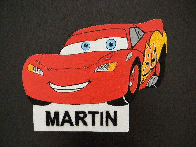 Plaque de porte Cars pour petit garçon (chantournage)