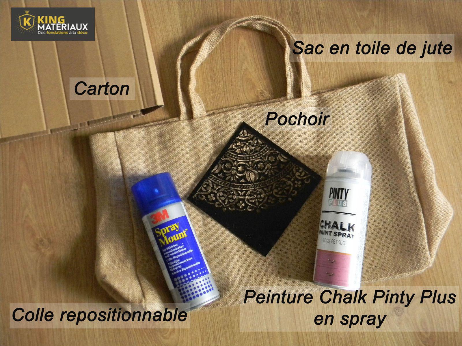 diy peinture la craie sur sac en toile de jute crealoutre. Black Bedroom Furniture Sets. Home Design Ideas