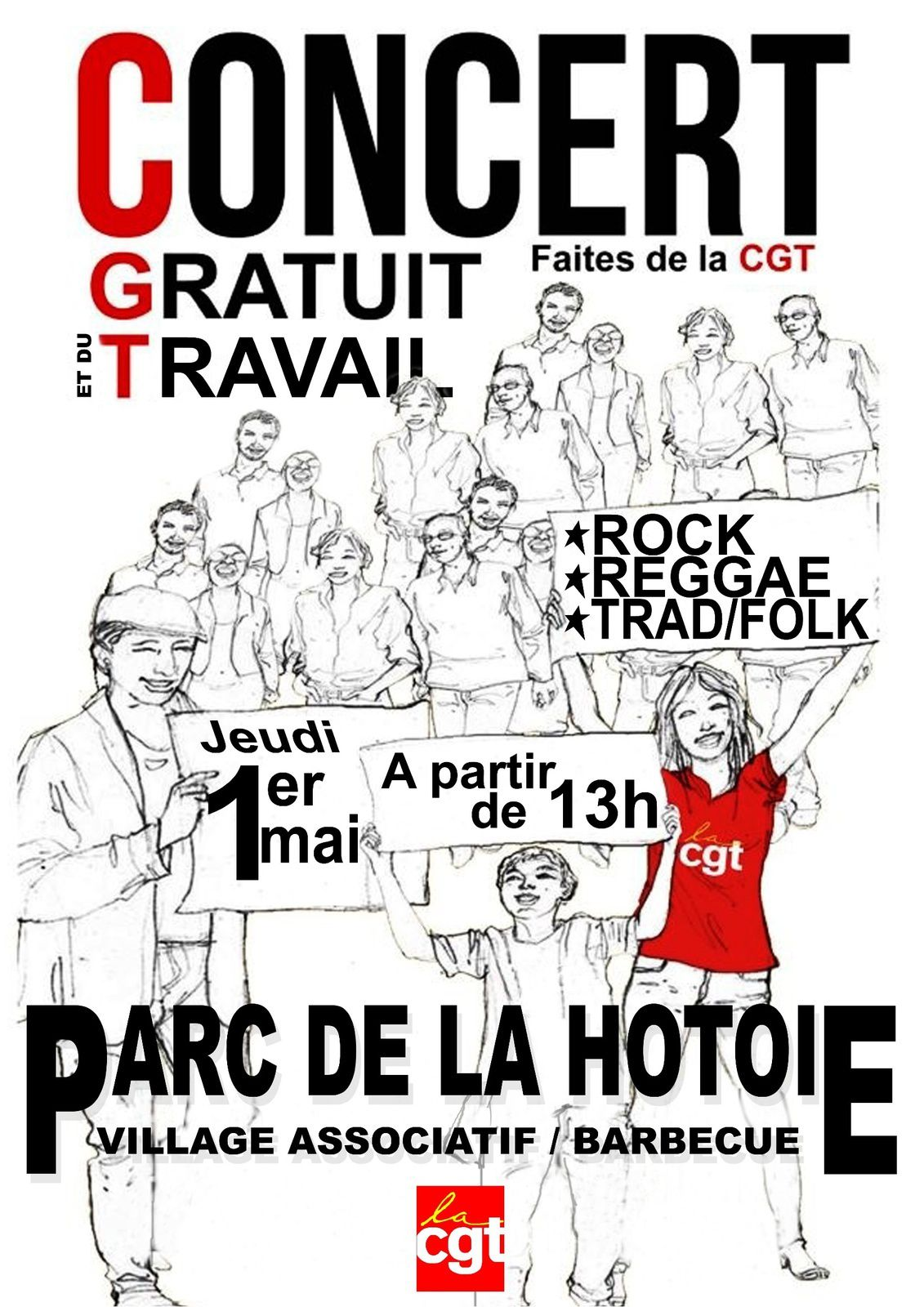1 Mai, Journée Internationale du Travail à Amiens. Concerts, Manif, village associatif, repas