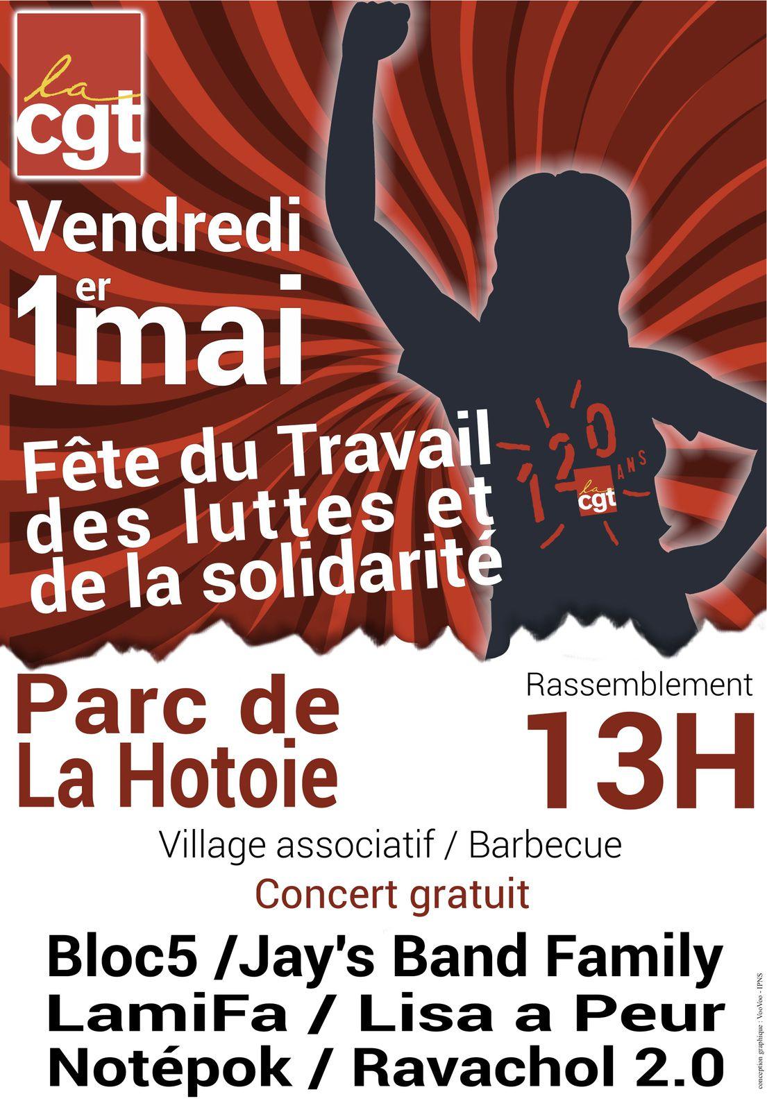 1er Mai Fête du travail, des luttes et de la solidarité à Amiens, Parc de la Hotoie, 10h30
