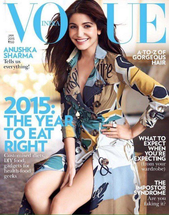 Anushka Sharma en couverture du magazine Vogue pour janvier 2015