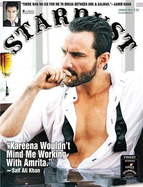 Saif Ali Khan en couverture du magazine Stardust pour janvier 2015