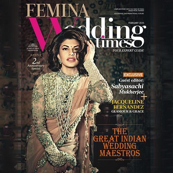 Jacqueline Fernandez en couverture du magazine Femina Wedding Times pour février 2015