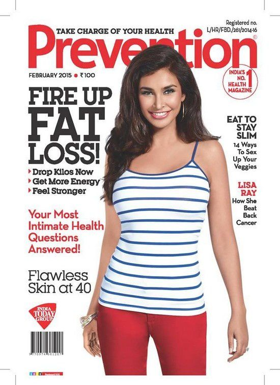 Lisa Ray en couverture du magazine Prevention pour février 2015