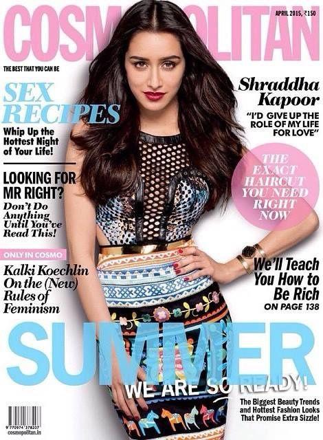 Shraddha Kapoor en couverture du magazine Cosmopolitain pour avril 2015