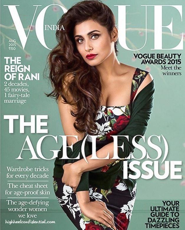 Rani Mukherjee en couverture du magazine Vogue pour août 2015