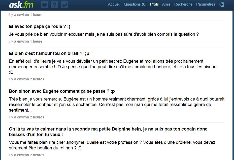 Interview - Delphine de Nucingen sur Ask.fm !