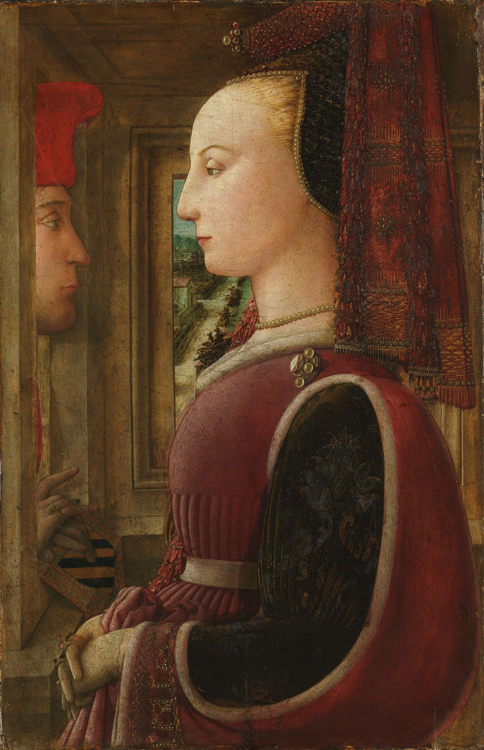 Portrait of a Woman with a Man at a Casement- tableau réalisé par Fra Filippo Lippi