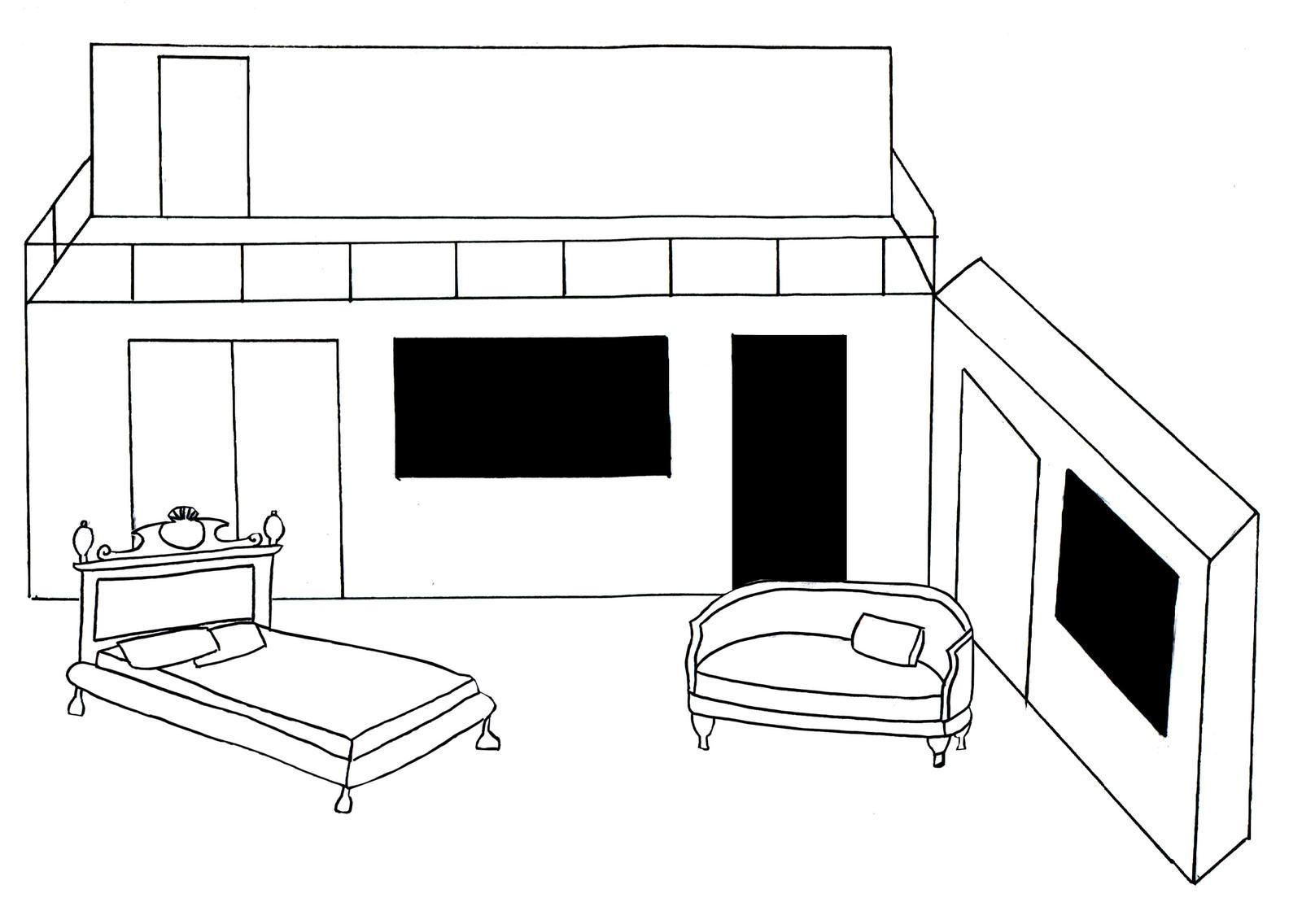 Le décor pour la chambre de Lorenzo, par exemple utilisé aux scènes 5 et 11 de l'acte IV.