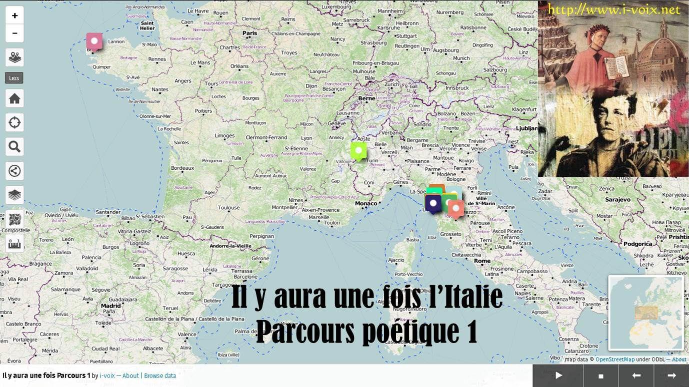 Géolittératie - Parcours poétique 1 en Italie
