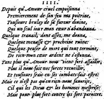 Le sonnet 4 de Louise Labé (édition Jean de Tournes 1555)