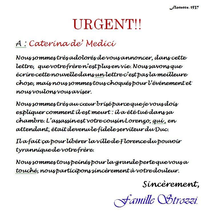Document - Lettre des Strozzi à Catherine de Médicis