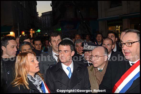 Sabine Bernasconi, Manuel Valls, Bernard Cazeneuve, Patrick Mennucci à Noailles.