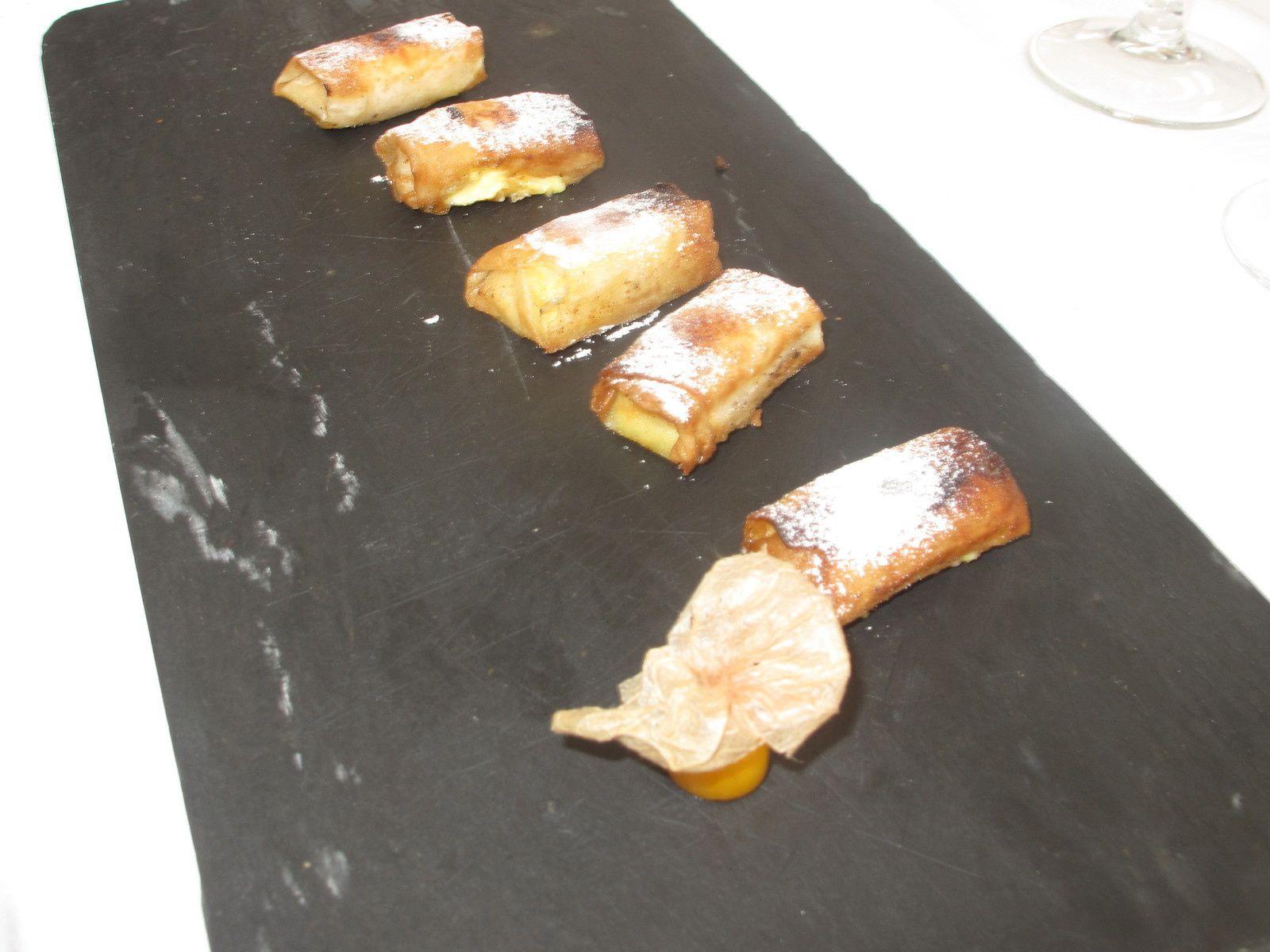 Les entrées, plats et desserts du menu