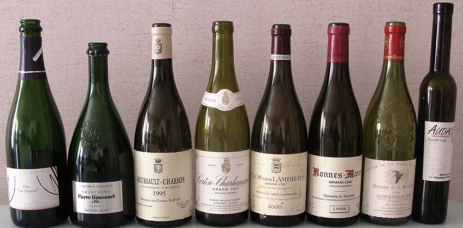Repas-dégustaion avec F.Bedel, Gimonnet, Comte lafon, Antonin Guyon, Clos-des-Lambrays, G. Roumier, Mordorée, Tissot