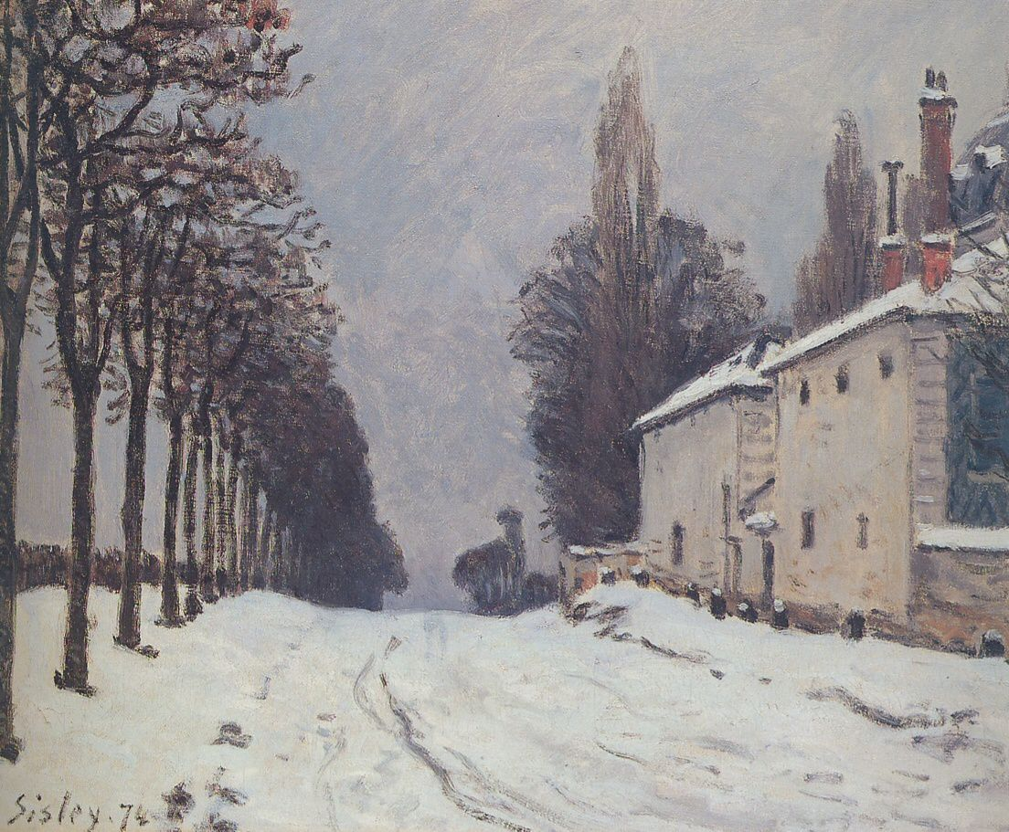 Monet-Route de Louveciennes & Sisley-Snow_on_the_Road_Louveciennes