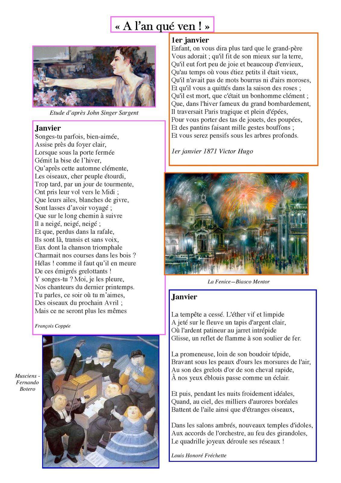 La page poésie d'Odile  le premier janvier